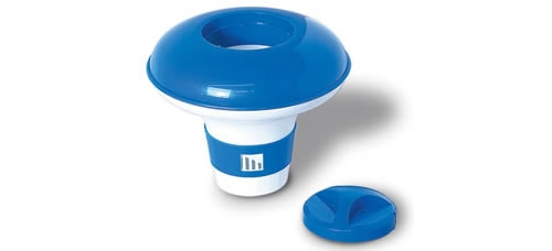Floating chlorine bromine dispenser for swimming pools 9 with twist lock cap for Chlorine or bromine for swimming pools